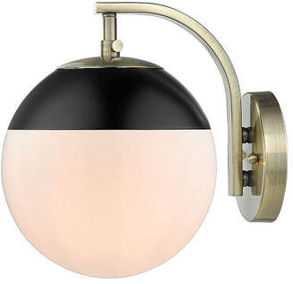 GOLDEN LIGHTING Dixon Sconce in Aged Brass with Opal Glass and Cap