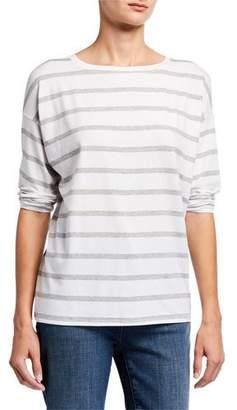 Eileen Fisher Striped Lyocell Jersey Long-Sleeve Box Top