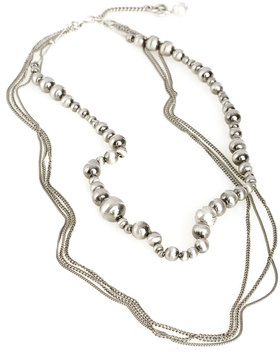 Multi Chain And Metal Bead Necklace