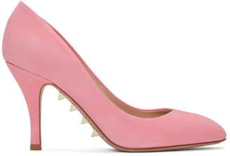 Valentino Pink Garavani Suede Sole Spike Pumps