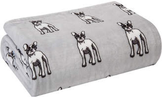 Elite Velvet Plush Fleece Bulldog Print Throw