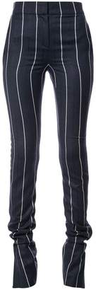 Oscar de la Renta slit-detailed striped skinny trousers