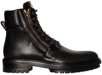 Balmain Army Combat Zipped Leather Boots