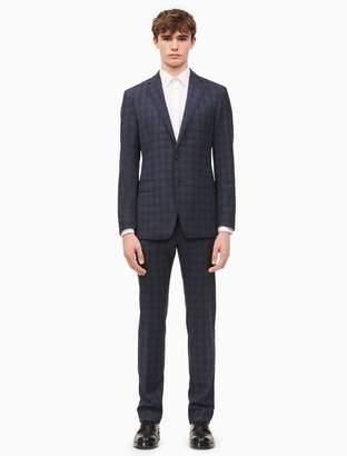 Calvin Klein x-fit ultra slim fit blue plaid suit