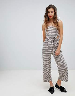 Bershka check jumpsuit with cutout