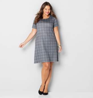 Avenue Plaid Lurex Zip Pocket Sheath Dress