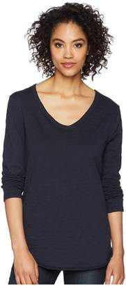 Dylan by True Grit Soft Slub Long Sleeve V-Neck Tee with Rib Detail Women's Long Sleeve Pullover