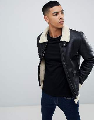 Blend aviator jacket in black faux leather with fleece collar