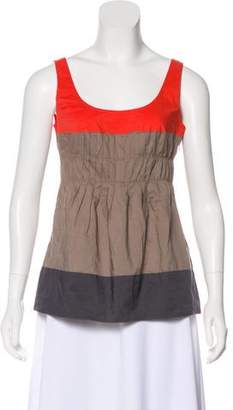 Vince Pleated Colorblock Top