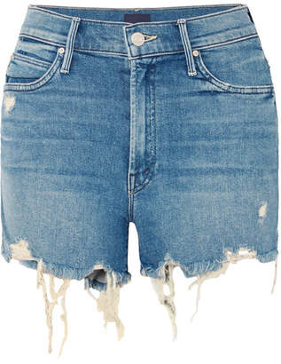 Mother Rascal Distressed Denim Shorts - Mid denim