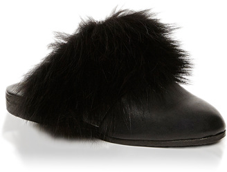 Parme Marin Furry Toed Mules