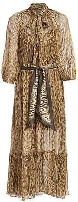 Zimmermann Eye Spy Leopard Tie-Neck Silk Maxi Dress