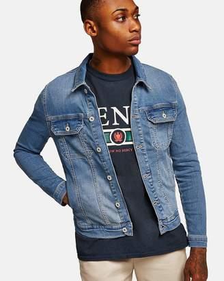 Topman Light Wash Muscle Fit Denim Jacket