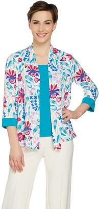 Bob Mackie Bob Mackie's Print Cardigan and Solid Knit Tank Set