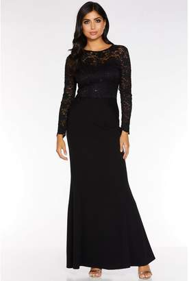 Quiz Black Sequin Lace Long Sleeve Maxi Dress