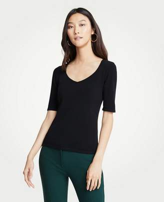 Ann Taylor V-Neck Short Sleeve Sweater