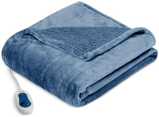 Simmons Oversized Solid Microlight Reverses to Micro Berber Heated Throw