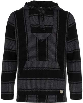 Alanui black striped knitted cashmere hooded jumper