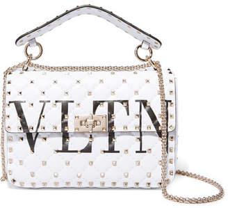 Valentino Garavani The Rockstud Logo-printed Quilted Leather Shoulder Bag - White