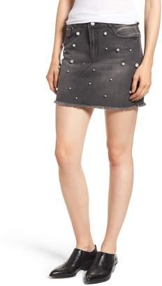 Tinsel Imitation Pearl Embellished Denim Skirt