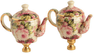 One Kings Lane Vintage Peony Chintz China Lamp Finials - Set of 2 - Pythagoras Place