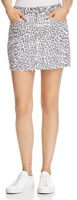 Current/Elliott Leopard Print Denim Mini Skirt