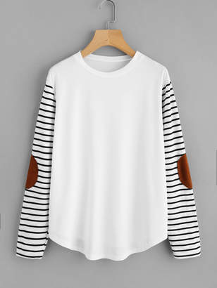 Shein Elbow Patch Striped Sleeve T-shirt