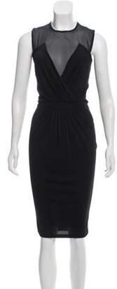 Givenchy Silk-Accented Midi Dress Black Silk-Accented Midi Dress