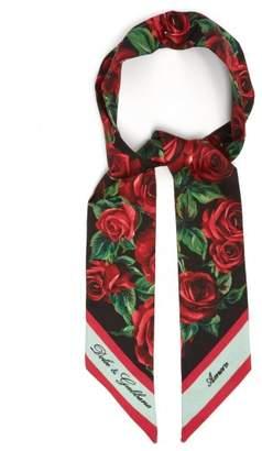 Dolce & Gabbana Rose Print Silk Twill Scarf - Womens - Black