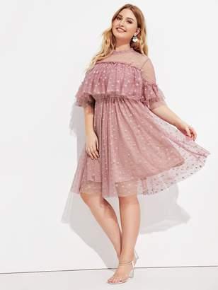 Shein Plus Mock Neck Ruffle Trim Star Mesh Overlay Dress
