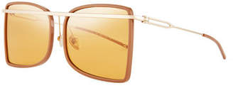 Calvin Klein Acetate & Metal Aviator-Style Sunglasses