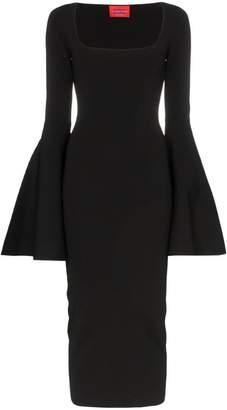 SOLACE London Serra square neck bell sleeve dress