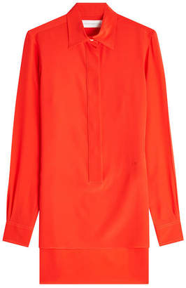 Victoria Beckham Silk Chiffon Shirt with High-Low Hem