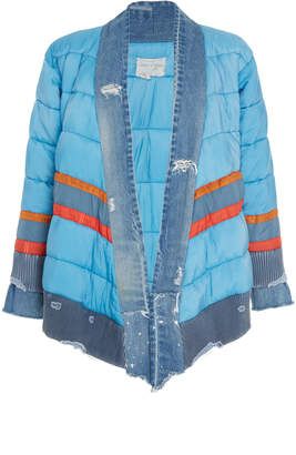Greg Lauren Distressed Paneled Puffer Jacket