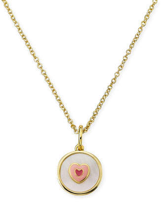 Mother of Pearl LMTS Girls' Mother-of-Pearl Heart Pendant Necklace, White