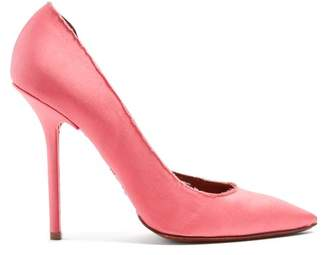 Vetements Raw Edge Point Toe Satin Pumps - Womens - Pink