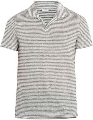 Onia Shaun linen and cotton-blend polo shirt