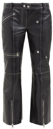 Alexander McQueen Panelled Kick Flare Leather Trousers - Womens - Black White