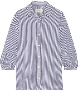The Great The Easy Button Up Striped Cotton-poplin Shirt - Navy