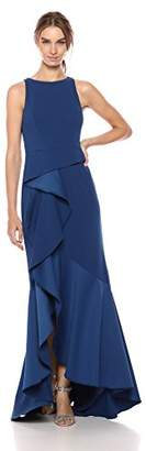 Adrianna Papell Women's Halter Knit Crepe Trumpet Gown