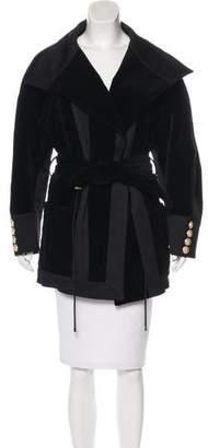 Balmain Quilted Velvet Coat