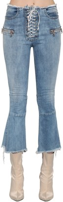 Unravel Lace-Up Flared Cotton Denim Jeans