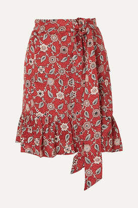 Etoile Isabel Marant Tempster Ruffled Printed Linen Mini Skirt - Red