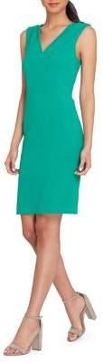 Tahari Arthur S. Levine V-Neck Flange Inset Sheath Dress