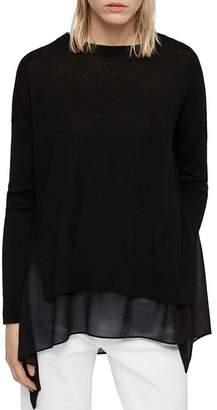 AllSaints Libby Contrast-Hem Sweater