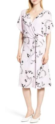 Lewit Print Faux Wrap Dress