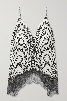 Givenchy Printed Lace-trimmed Silk Crepe De Chine Camisole - White