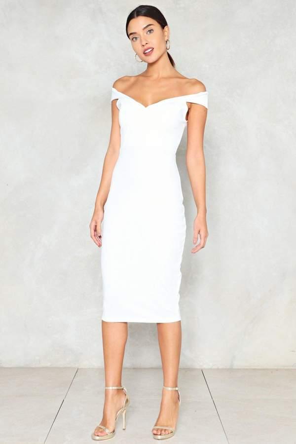 nastygal Midi Ground Off-the-Shoulder Dress