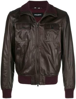 Dolce & Gabbana cutaway collar bomber jacket