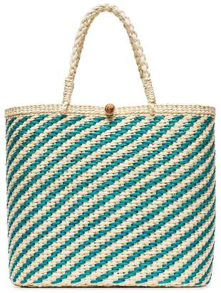 Sensi Studio teal and cream woven straw tote bag